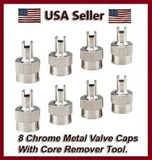 8 Chrome Metal Slotted Head Valve Stem Caps With Core Remover Tool Motorcyle/Car