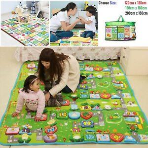 Extra-Grande-Nino-del-nino-bebe-sabana-Gatear-Alfombra-Impermeable-2-lados-jugar-Alfombra-UK