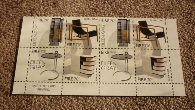 2015 IRELAND POST MINT STAMPS EILEEN GRAY FURNITURE DESIGN BLOCK OF 8 STAMPS MNH