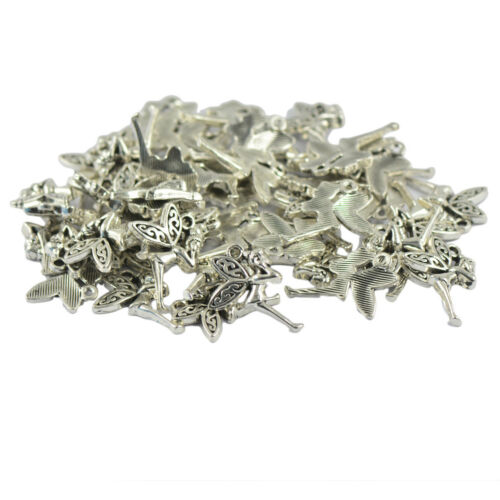30 pcs Vintage Tibetan Silver Wing Fairy Charms Pendant Jewelry Findings