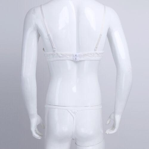 Men Lingerie Bra G-string Set Underwear Lace Sissy Thong Pouch Panties Thong