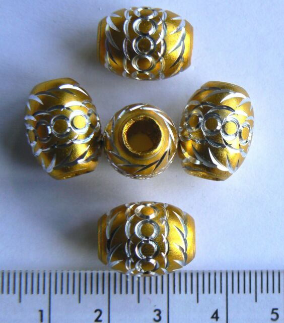 No P&P Beads Gold Metal Shiny Oval 16x13mm for charm bracelet 5mm hole x 5 beads