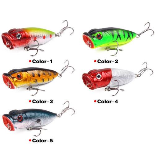 Lot 5pcs Fishing Lure 3D Eyes Hard Bait Poper Bionic Outdoor Sports 7cm//13g Hook