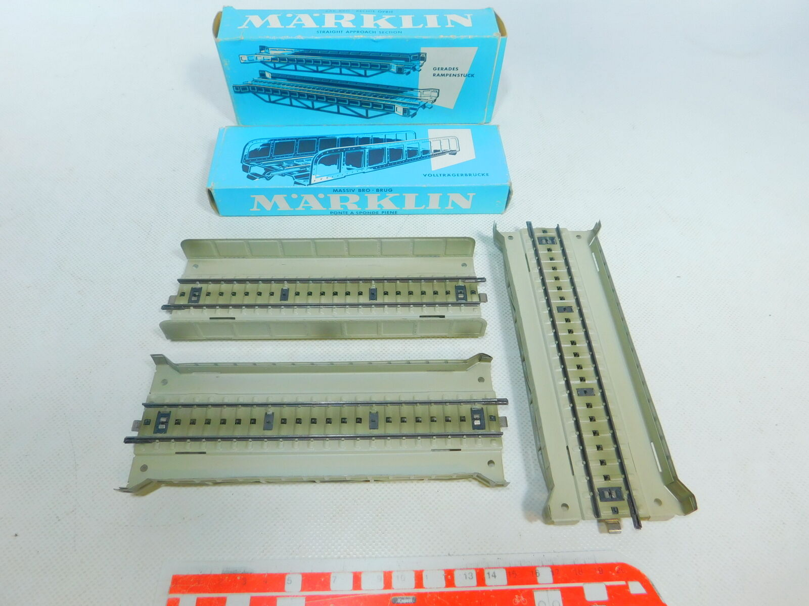 By642-0, 5 x Märklin H0 Ac Ramp Pieces   Plate Girder Bridge 7168 +7161