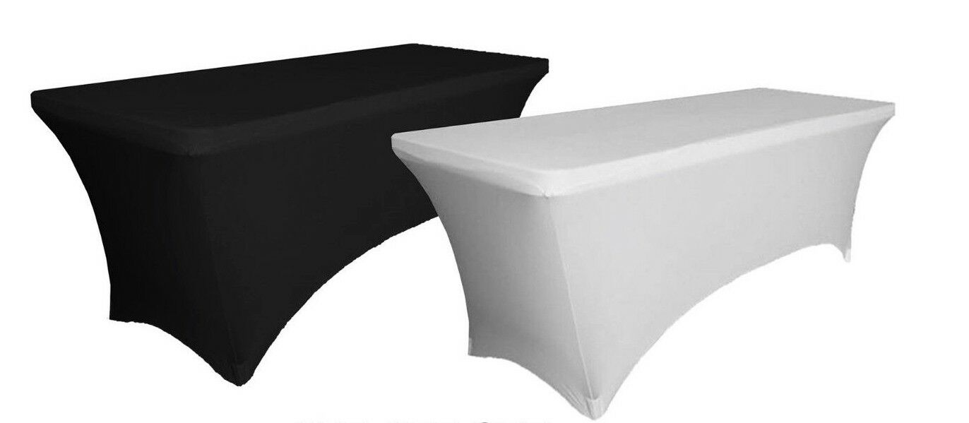 6ft Mesa Plegable caballete de Pie + Mantel  En Negro O blancoo Stretch Mantel  tienda
