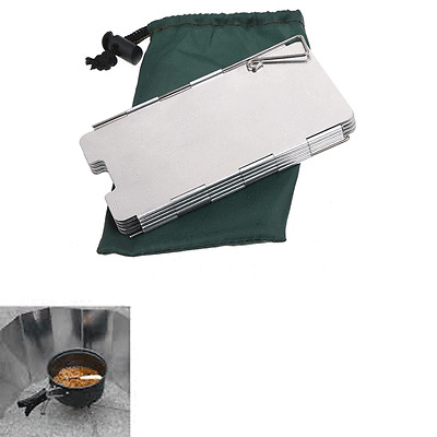 9 Plates Fold Camping Cooker Stove Wind Shield Screen Portable S4J5