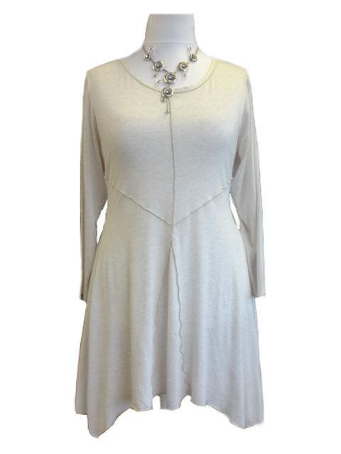 C123 Caroline Ann Cream Marl Lagenlook Tunic Dress Made in England. 12 - 40