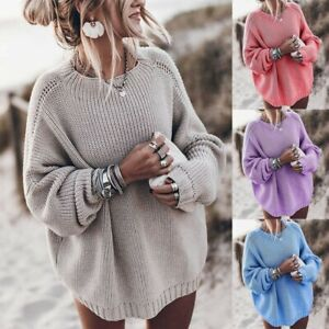 Women-039-s-Knitted-Sweater-Baggy-Pullover-Jumper-V-Neck-Long-Sleeve-Knitwear-Tops