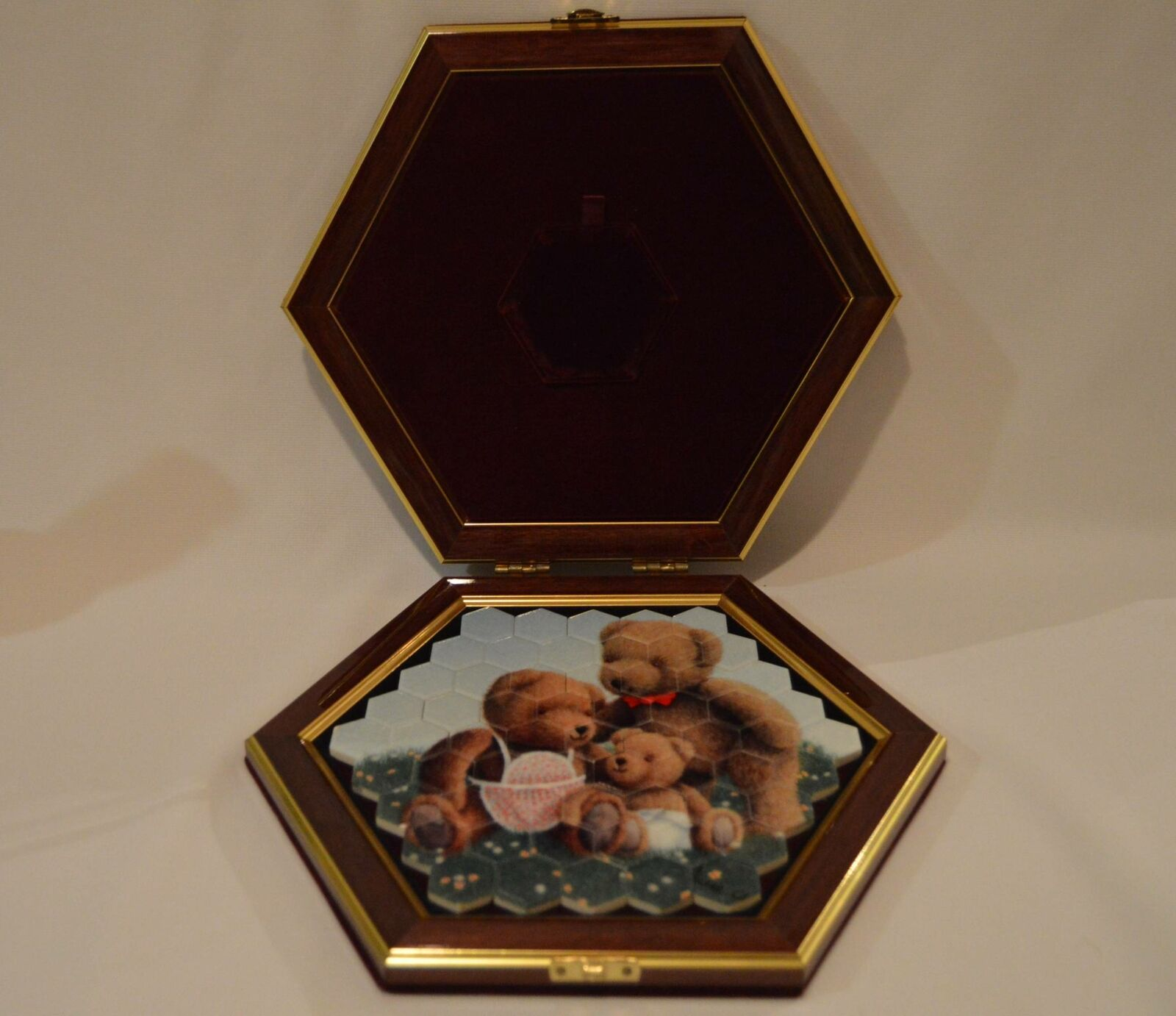 Unique Hexagonal Teddy Bear Mosaic Puzzle In Case From The Porcelain Company