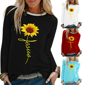 Women-Casual-Sunflower-Print-Shirt-ONeck-Long-Sleeve-Top-Loose-T-Shirt-Blouse-FE