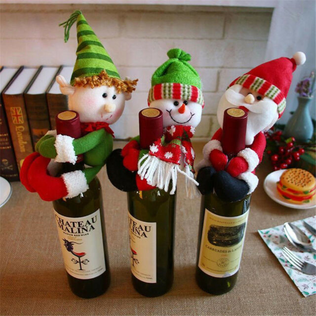 Merr Christmas Red Wine Bottle Cover Santa Snowman Elf Party Table Decoration