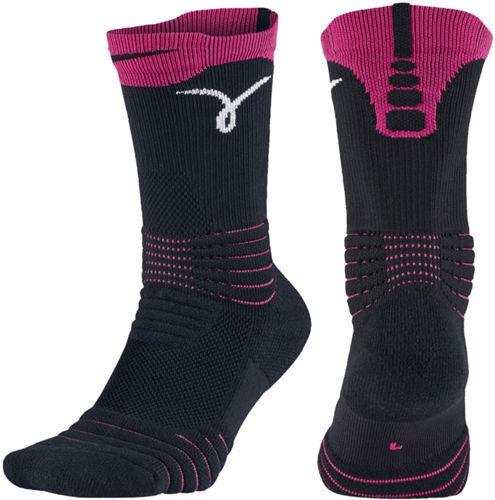 Nike Versatility Elite Crew Breast Cancer Kay Yow Socks Black Pink Womens  4-6 for sale online  dfedffaf98