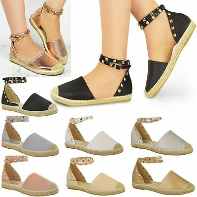 Womens Ladies Espadrilles Ankle Strappy Flat Summer Sandals Rock Stud Shoes Size   eBay