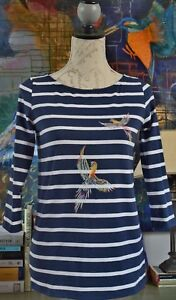 Top New Blue With Parrots Hand Breton Printed Navy qxFHnwaA