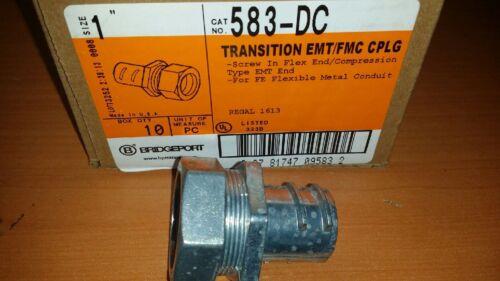 """SCREW IN BOX OF 10 BRIDGEPORT 583DC 1/"""" EMT TO 1/"""" FLEX DIECAST COUPLING"""