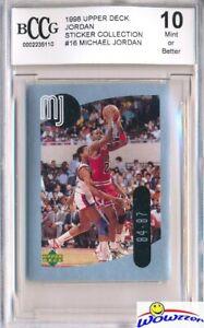 1998-Upper-Deck-16-Michael-Jordan-Sticker-BECKETT-10-MINT-Bulls-HOF