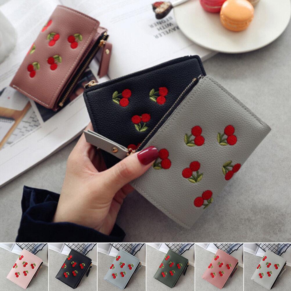 Girl Short Wallet PU Cherry Embroidery Coin Purse Card Holders Money Bag Pu aoDS
