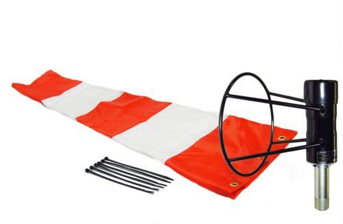 "Airport Windsock Corporation 8/""X36/"" Orange /& White Windsock /& Ball Bearing Frame"