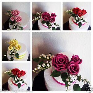 Zuckerblumen zuckerrosen bouquets fondant tortendeko hochzeit tortenaufleger ebay - Tortendeko hochzeit ...