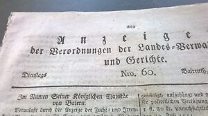PerséVéRant 1811 Tableau De Bord Bayreuth 60/zeegendorf Medensdorf Ville Steinach-afficher Le Titre D'origine Apparence Brillante Et Translucide