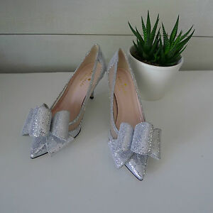 c6c796bd94d3 KATE SPADE Silver SHIMMER JACKIE HEELS 5.5 Shoes BOW Wedding BRIDAL ...