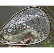 US Fly Fishing Landing Net Trout Catch Release Soft Rubber Mesh Wooden Handle