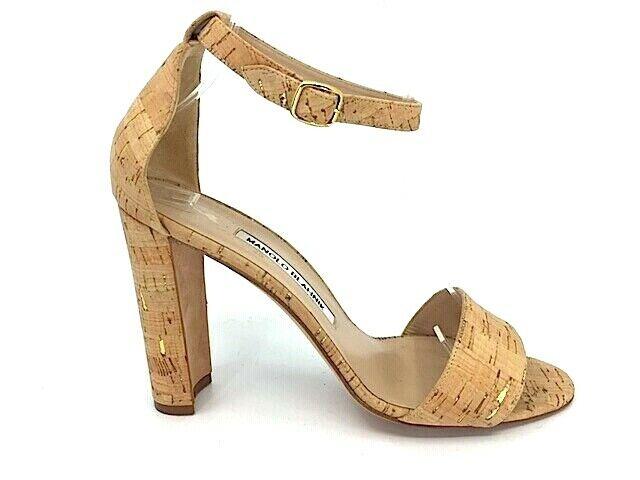 MANOLO BLAHNIK LAURATOPRI Cork oro Strappy Ankle Sandals Block Heel  Dimensione 39  miglior prezzo migliore