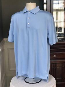 8637dfb3d5e Peter Millar Summer Comfort Men s Polo Solid Blue Short Sleeve Golf ...