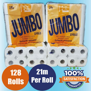 128-TOILET-ROLLS-2-PLY-21m-200-SHEET-TISSUE-LUXURY-QUILTED-PAPER-4-CASES-JUMBO