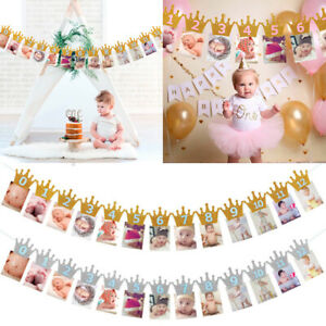 baby growth record 1-12 mouth photo ribbon banner for 1st birthday party HD