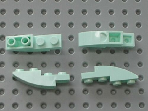 4 x LEGO Light Aqua Slope Curved 4x1 Inverted Ref 13547 Set 41187 41178 41176