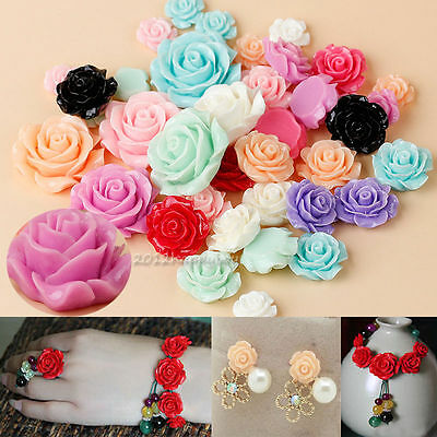 New 15/30pcs Mixed Resin Rose Flower Flatback Appliques For Phone/Nail/Craft DIY