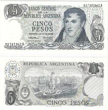 Argentina 5 Pesos 1974 P-294a.1 Decreto Ley18.188 UNC Uncirculated Banknote