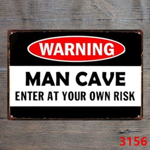 Metal Tin Sign warning man cave enter at risk Decor Bar Pub Home Vintage Retro