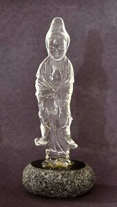 1930's Chinese Rock Crystal Quartz Carved Carving Kwan Guan Yin Buddha Figure