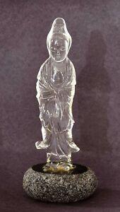 1930's Chinese Rock Crystal Quartz Carved Carving Kwan Guan Yin Buddha Figure