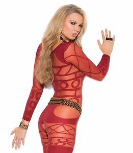 88c9833aa32e Image is loading Sexy-Lingerie-Red-Women-Bodystocking-Long-Sleeve-Geometric-