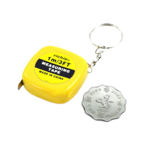 2x Small Portable Keychain Key Ring Easy Retractable Tape Measure Ruler 1m TY HL