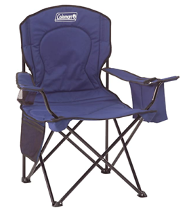 Coleman Portable Camping Quad Chair with 4-Can Cooler Blue