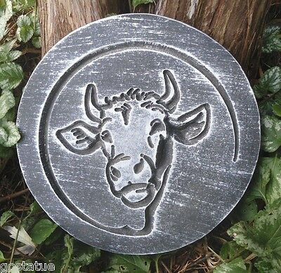 """Cow stepping stone mold plaster concrete farm animal mould 11/"""" x 1/"""" thick"""