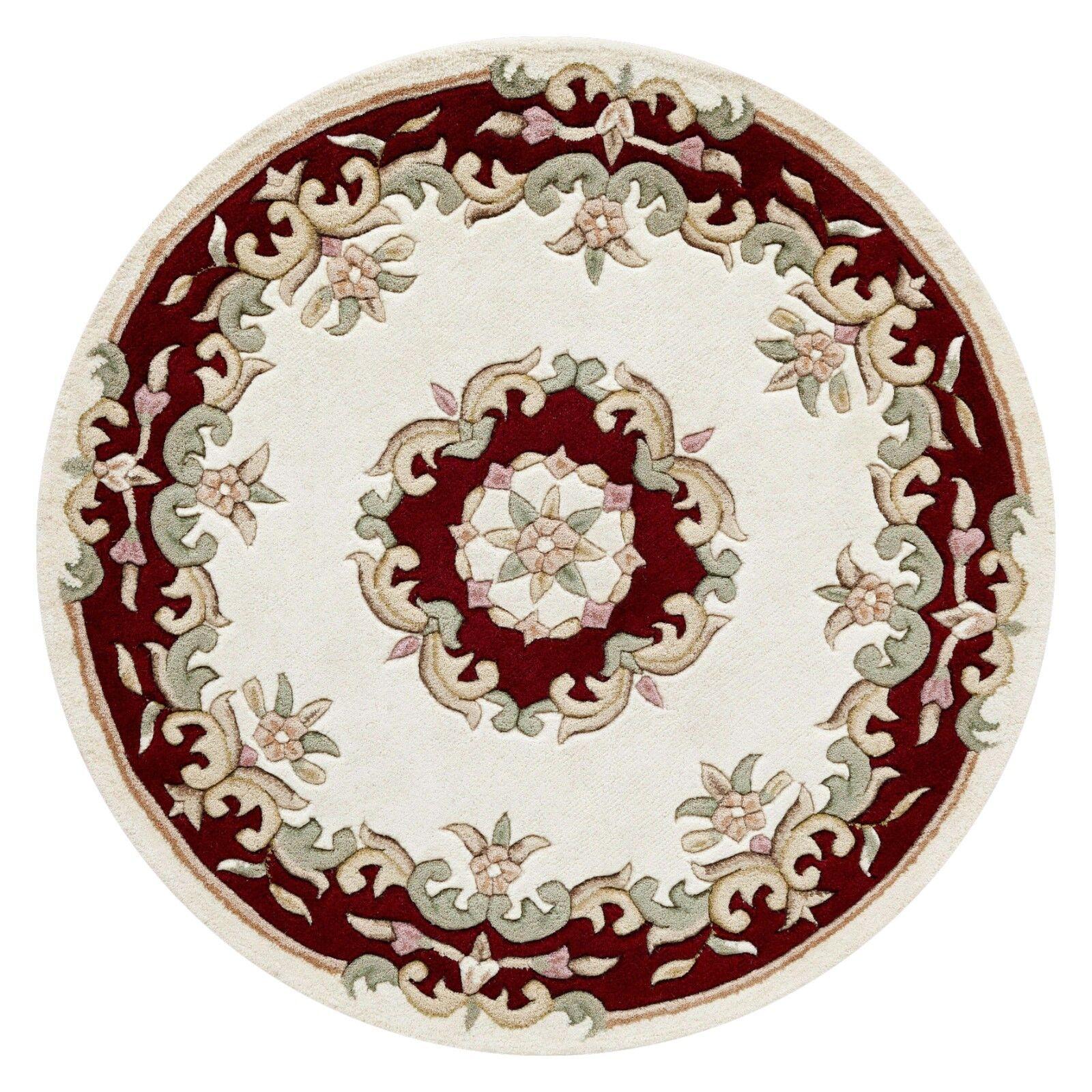 Royal Aubusson Crème Rouge Laine Tapis en Tailles Différentes demi-lune demi-lune demi-lune et cercle | Apparence Attrayante  622c34