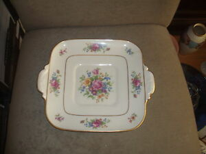 RARE VINTAGE LENOX SQUARE CAKE/DESSERT PLATE LENOX ROSE PATTERN OLD BLUE MARK