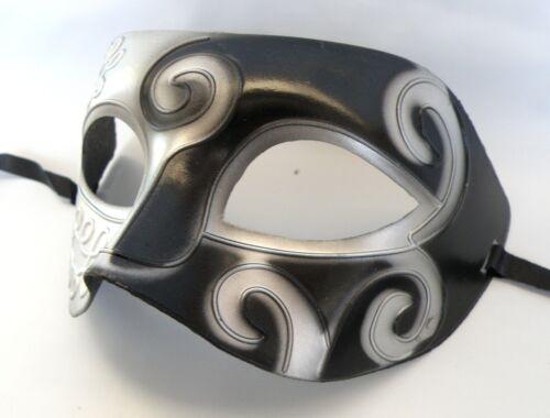 Roman Venetian Party Mens Masquerade Face Mask Greek Black /& Silver *NEW*