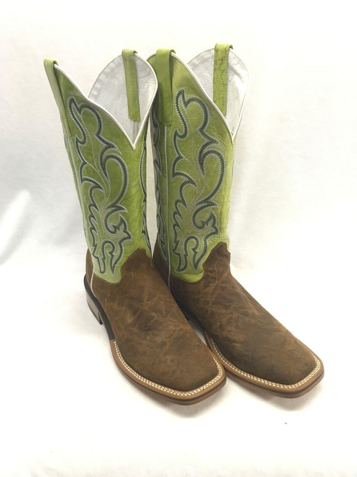 botas para hombre Olathe Cowboy Collection, Puntera Cuadrada Marrón Con Eje verde Lima CC65