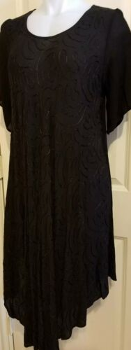 Womens embroidered black one size fit scalloped hem with sleeves
