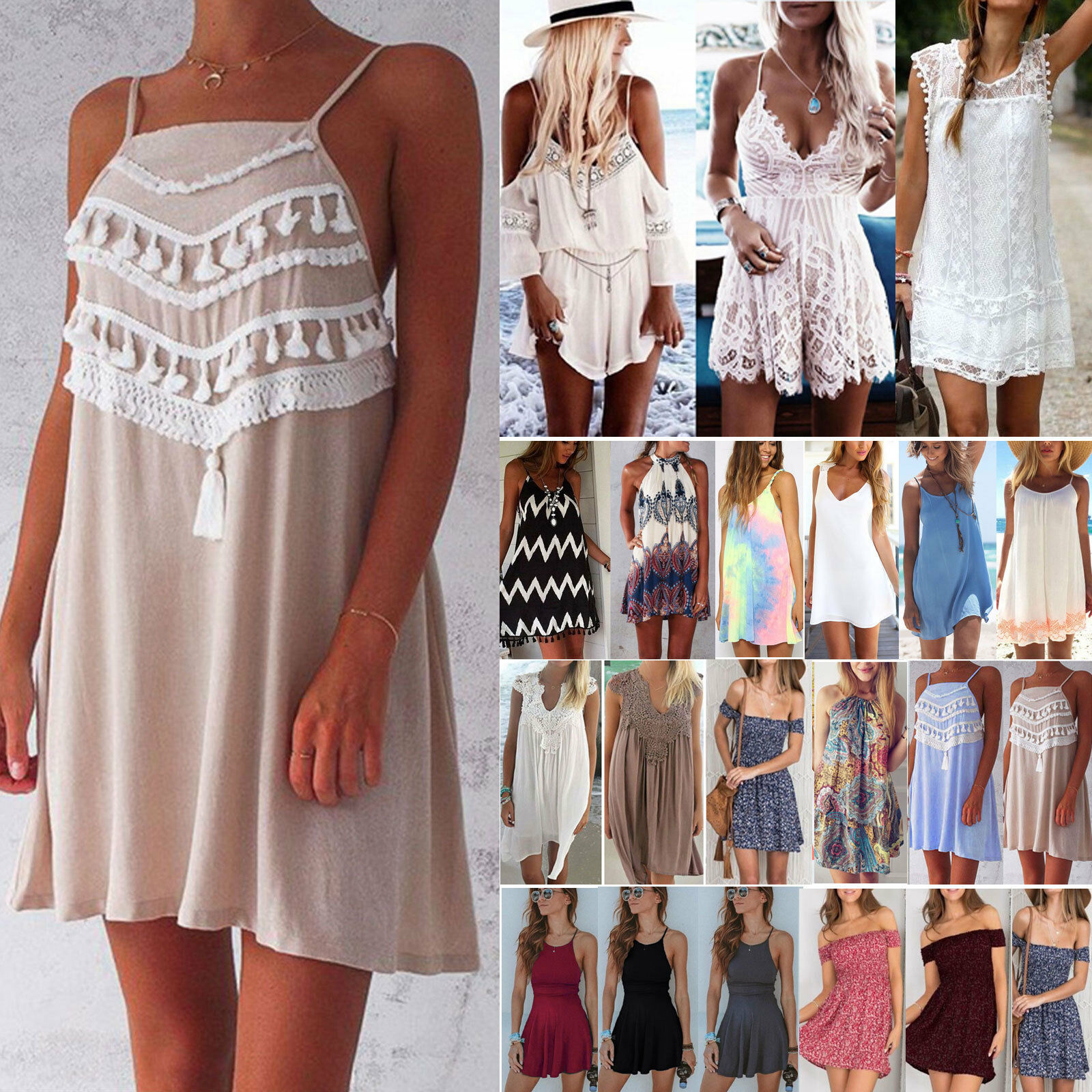 3c318466aac Womens Summer Mini Shift Dress Casual Beachwear Cover Up Kaftan Floral  Sundress