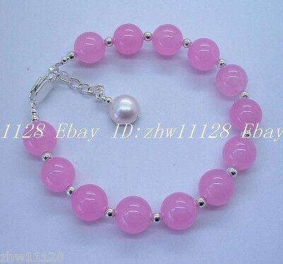Natural 10mm Pink Jade Gemstone Round & Pearl Bracelet 7.5''