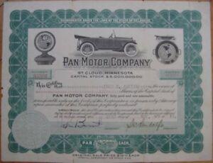 1918-Car-Stock-Certificate-Pan-Motor-Co-St-Cloud-MN