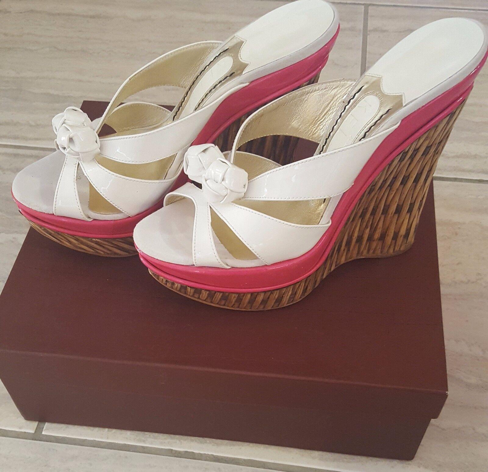 Authentic Designer JONATHAN KELSEY leather Wedges Platform shoes Sz 40 US 9