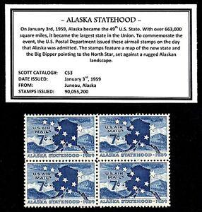 1959 - ALASKA STATEHOOD – Mint -MNH- Block of Four Vintage Airmail Stamps